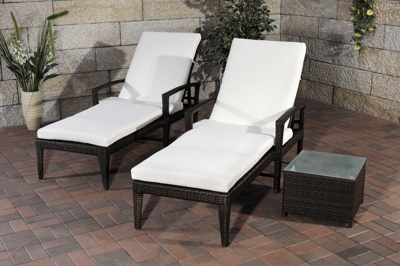 sonnenliegen set costa braun polyrattan liege gartenliege gartenm bel rattan neu ebay. Black Bedroom Furniture Sets. Home Design Ideas