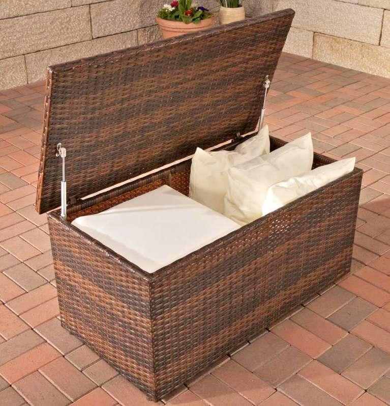 auflagenbox xl aus polyrattan braun kissentruhe kissenbox ebay. Black Bedroom Furniture Sets. Home Design Ideas