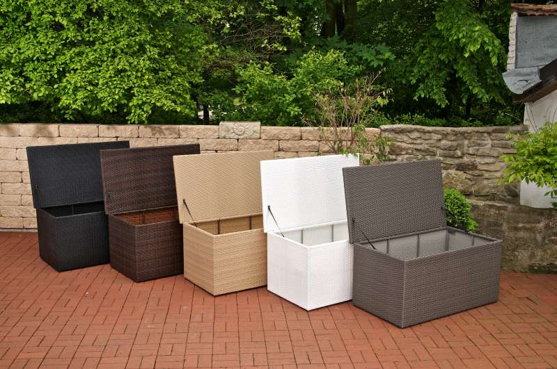 auflagenbox xl grau polyrattan aufbewahrungstruhe kissenbox gartenbox truhe neu ebay. Black Bedroom Furniture Sets. Home Design Ideas