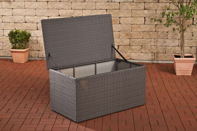 sl auflagenbox xl aus polyrattan grau kissenbox box rattan polsterbox defekt ebay. Black Bedroom Furniture Sets. Home Design Ideas