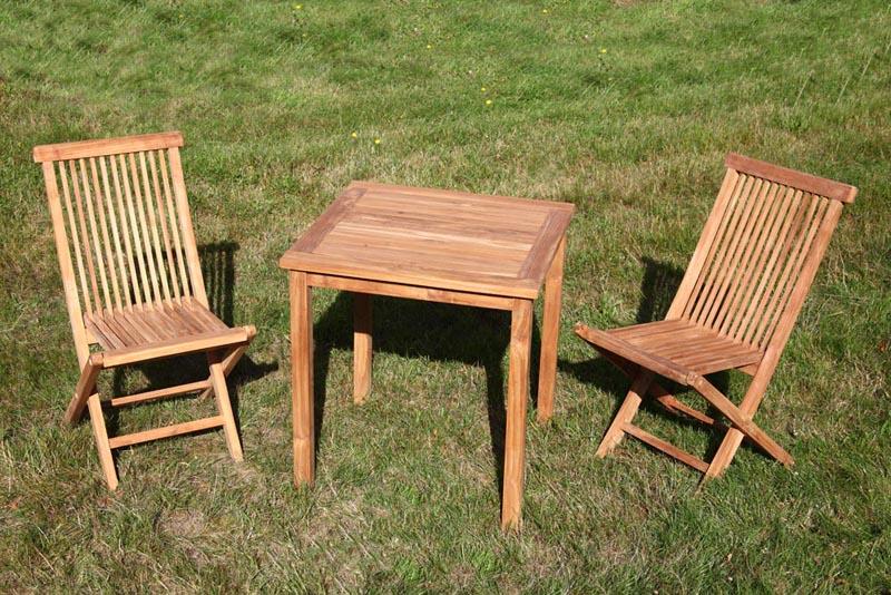 4 eckiger teak tisch 2x klappbare st hle teakholz gartenm belset gartenm bel ebay. Black Bedroom Furniture Sets. Home Design Ideas