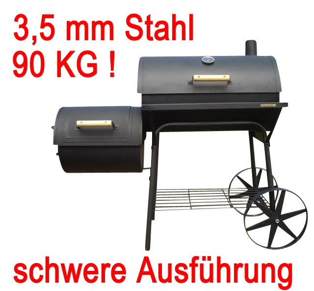 massiver bbq smoker grill holzkohlegrill barbeque neu grillwagen ebay. Black Bedroom Furniture Sets. Home Design Ideas