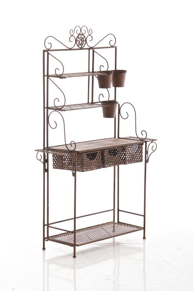 xl pflanzregal shine antik braun standregal metall. Black Bedroom Furniture Sets. Home Design Ideas