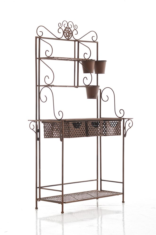 xl pflanzregal shine antik braun standregal metall pflanztisch metallregal neu ebay. Black Bedroom Furniture Sets. Home Design Ideas