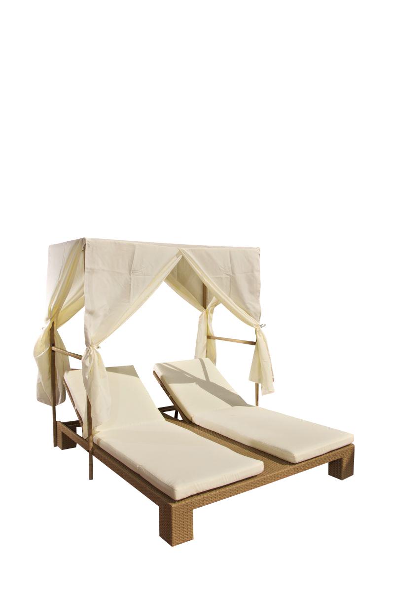 lia doppelliege polyrattan mit sonnenschutz garten liege sonnenliege neu ebay. Black Bedroom Furniture Sets. Home Design Ideas