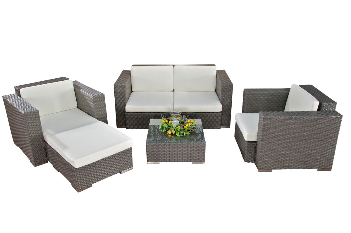 2 1 1 polyrattan gartengarnitur garten lounge rattan. Black Bedroom Furniture Sets. Home Design Ideas