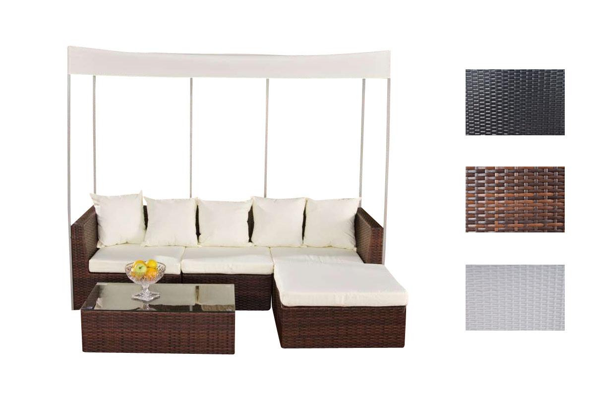 gartengarnitur marsala aus polyrattan neu loungem bel gartenm bel sofa. Black Bedroom Furniture Sets. Home Design Ideas