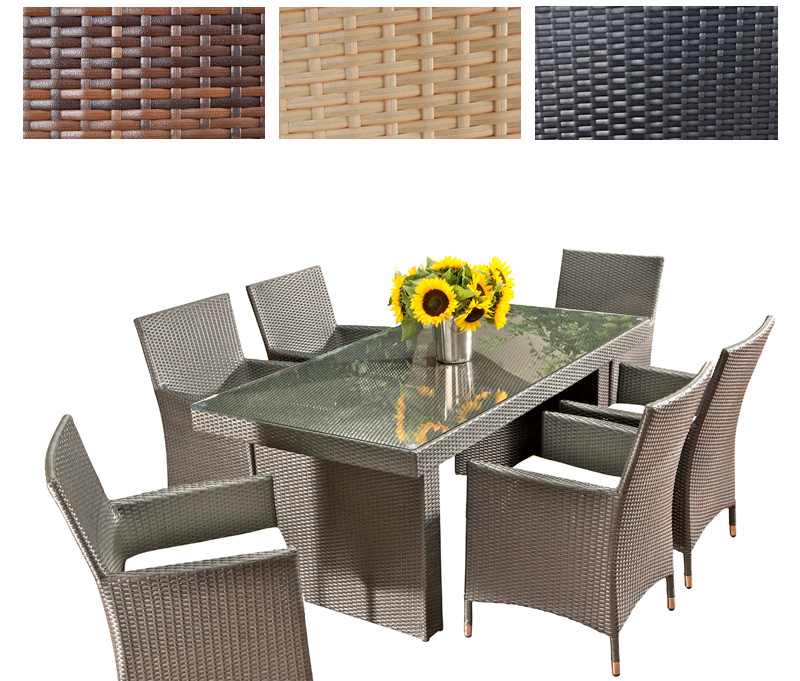 polyrattan glastisch avignon mit 6 st hlen gartengarnitur garnitur ebay. Black Bedroom Furniture Sets. Home Design Ideas