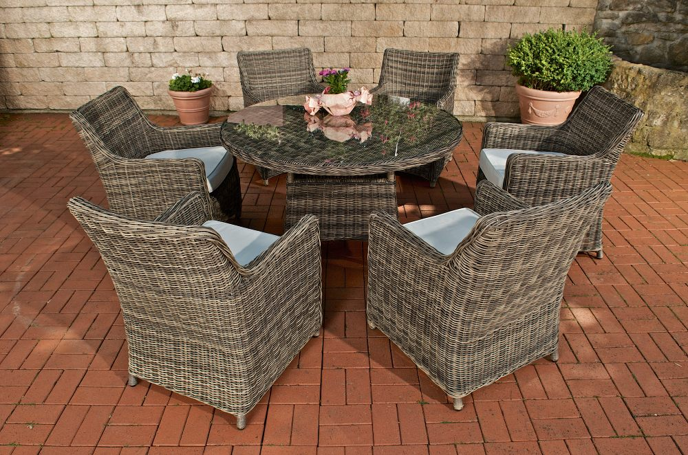sitzgruppe ginosa grau meliert rundes rattan polyrattan tisch glas ebay. Black Bedroom Furniture Sets. Home Design Ideas