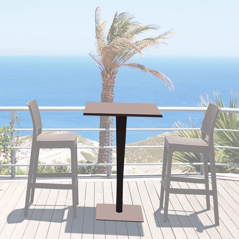outdoor bartisch riva eckig 70 x 70 cm h he 108 cm rattan optik farbwahl ebay. Black Bedroom Furniture Sets. Home Design Ideas