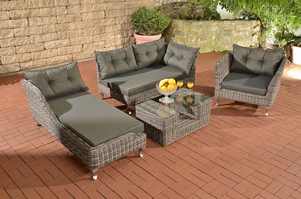 garnitur moss grau meliert s gartenm bel terrassenm bel rattanm bel lounge set ebay. Black Bedroom Furniture Sets. Home Design Ideas