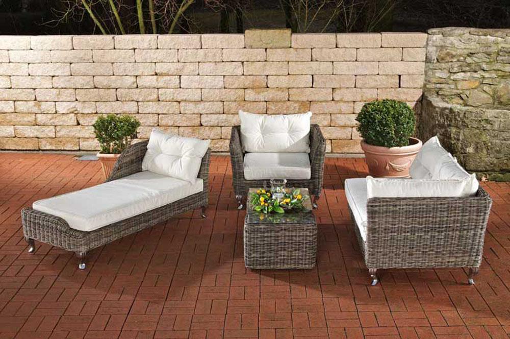 Obi Gartenmobel Davenport : Details zu Garnitur Moss aus Polyrattan, graumeliert NEU Gartenmöbel