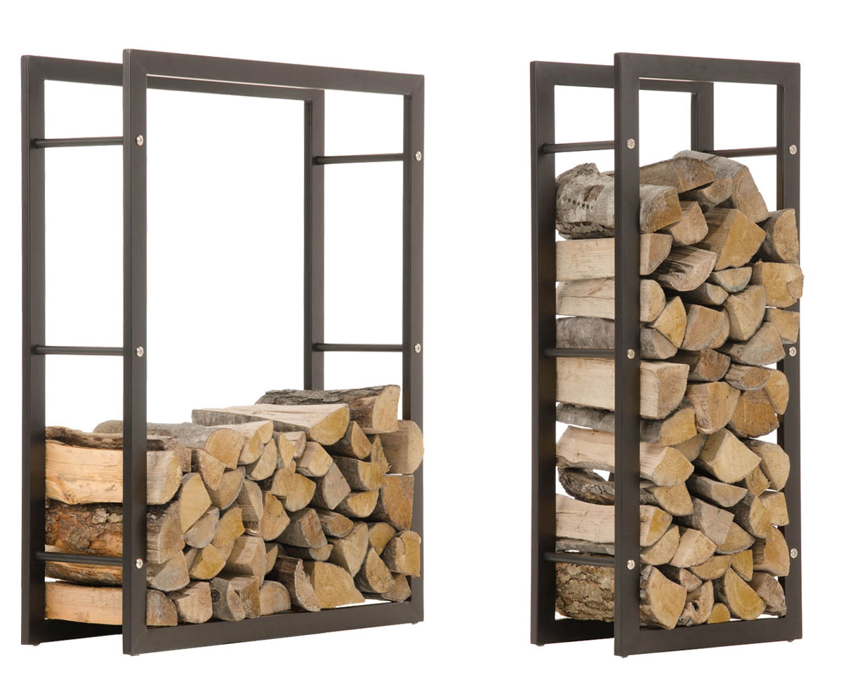 Firewood Rack KERI Black Log Shelf Basket Stand Holder ...