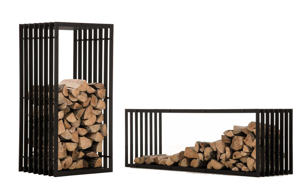 Firewood Rack IRVING Black Metal Log Basket Stand Holder ...