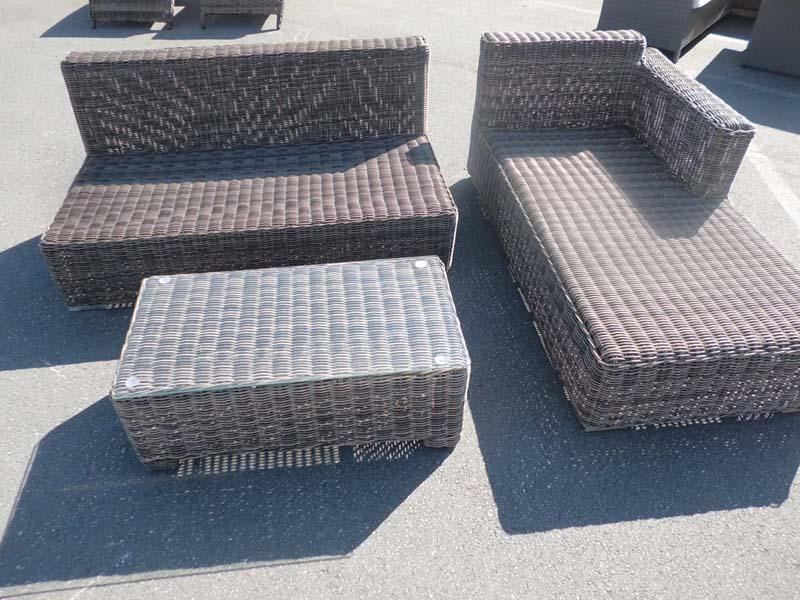 h eckgarnitur tessera grau meliert gartenm bel lounge garten set sitzgruppe neu ebay. Black Bedroom Furniture Sets. Home Design Ideas