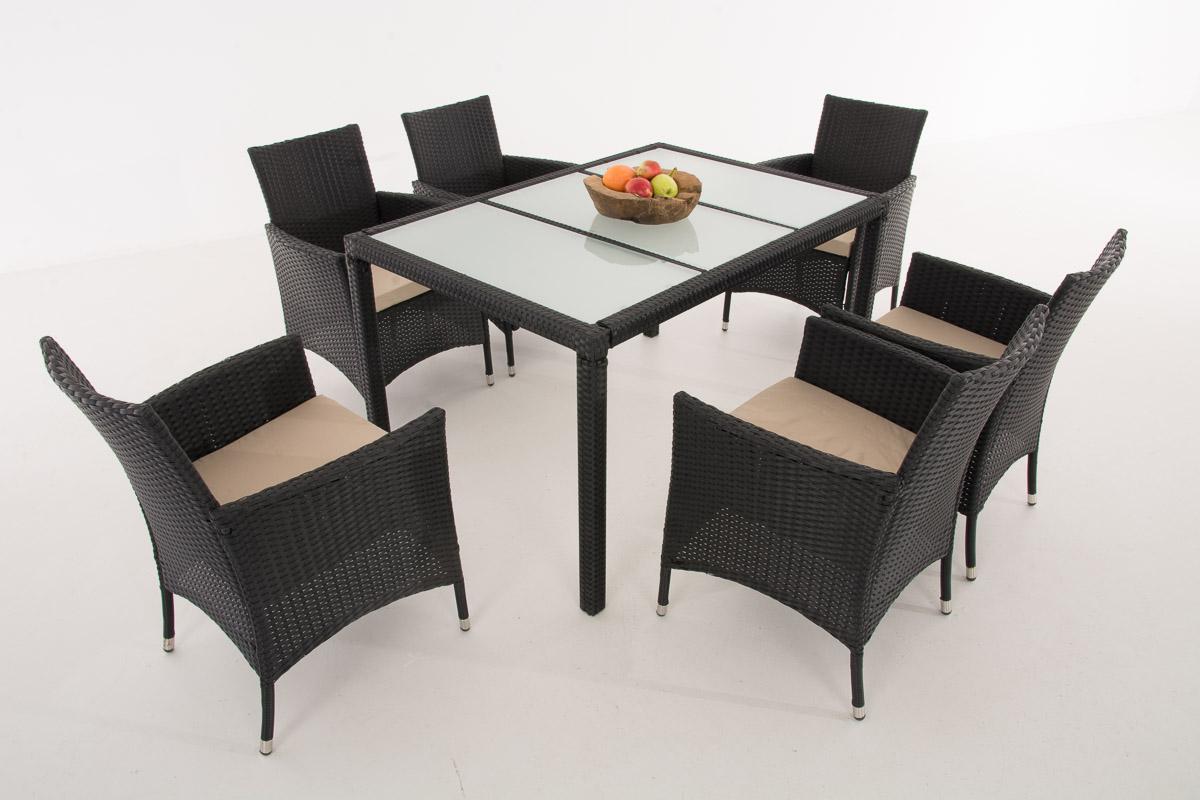 H sitzgruppe vermont schwarz gartengarnitur gartenm bel for Gartengarnitur polyrattan