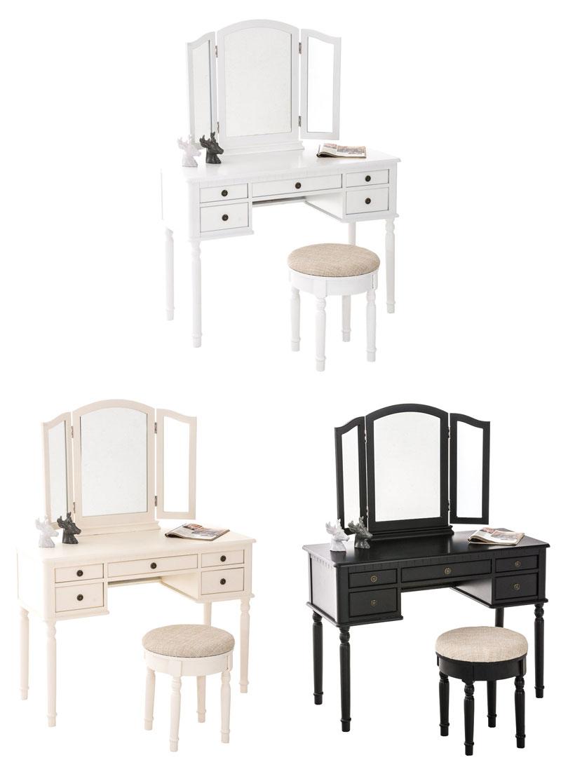 schminktisch madeleine mit 3 spiegel hocker kosmetiktisch frisiertisch landhaus ebay. Black Bedroom Furniture Sets. Home Design Ideas