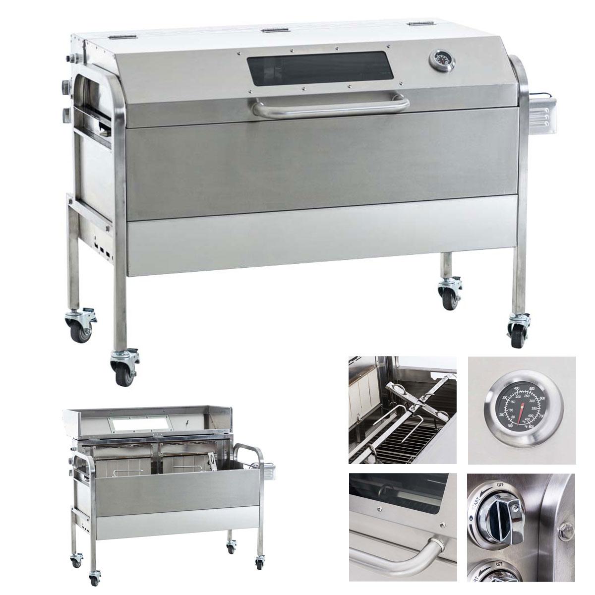edelstahl spanferkelgrill matthew mit abdeckung bbq grillwagen barbecue grill ebay. Black Bedroom Furniture Sets. Home Design Ideas