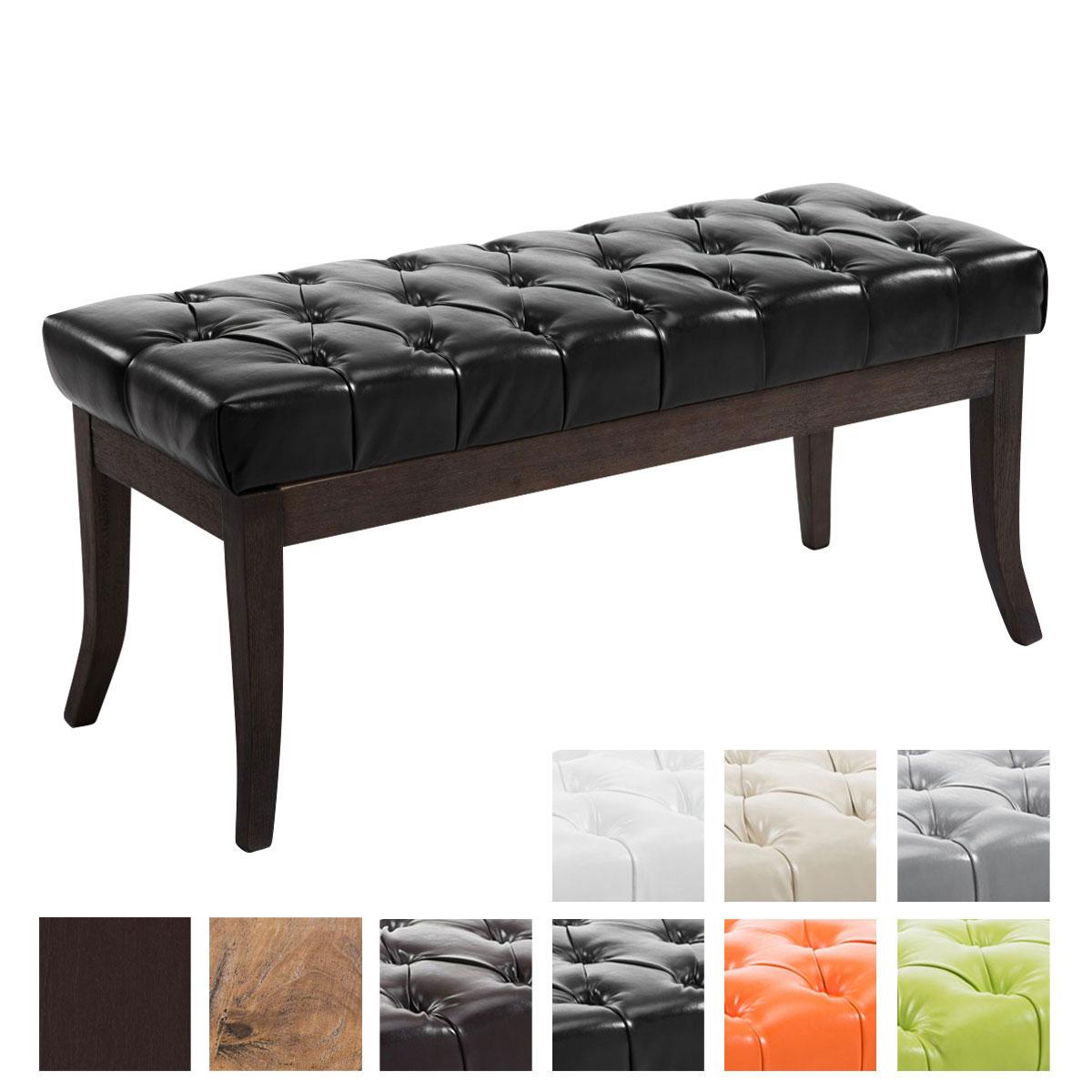 sitzbank ramses kunstleder antik dunkel polsterbank sitzhocker holz wartebank ebay. Black Bedroom Furniture Sets. Home Design Ideas
