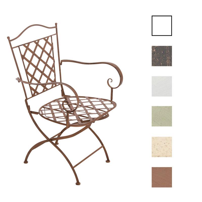 Détails sur Chaise de jardin en fer forgé ADARA confortable avec accoudoirs design antique