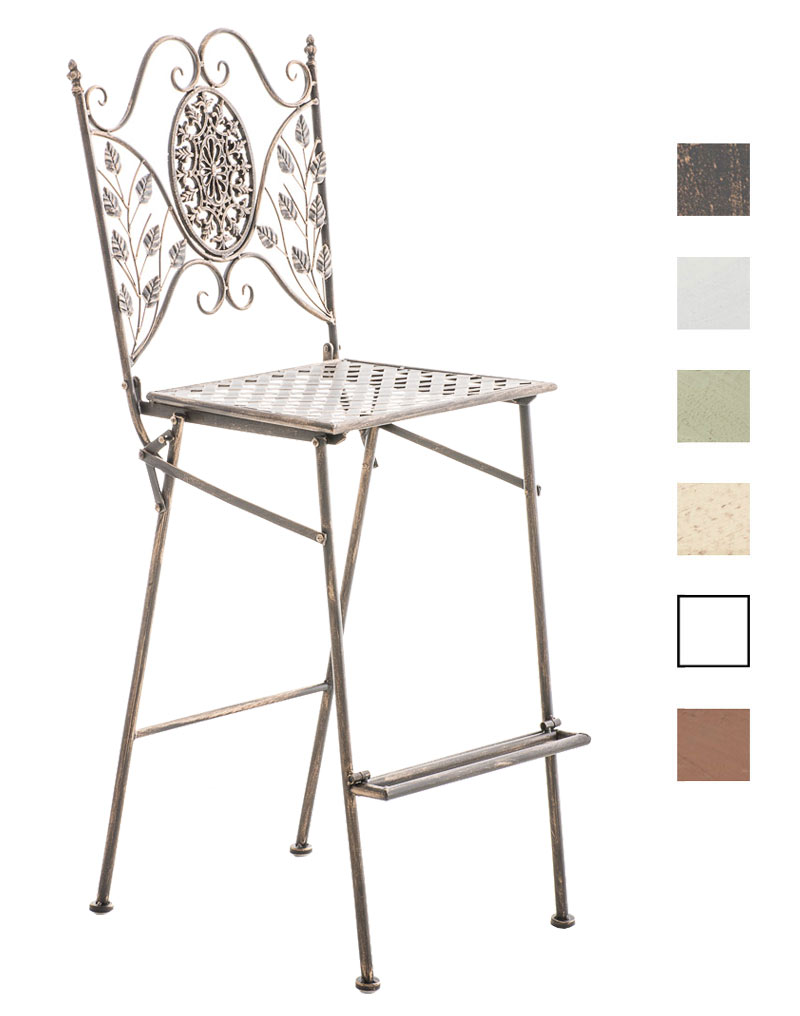 tabouret de bar begona chaise de bar pliante en fer forg avec repose pied ebay. Black Bedroom Furniture Sets. Home Design Ideas