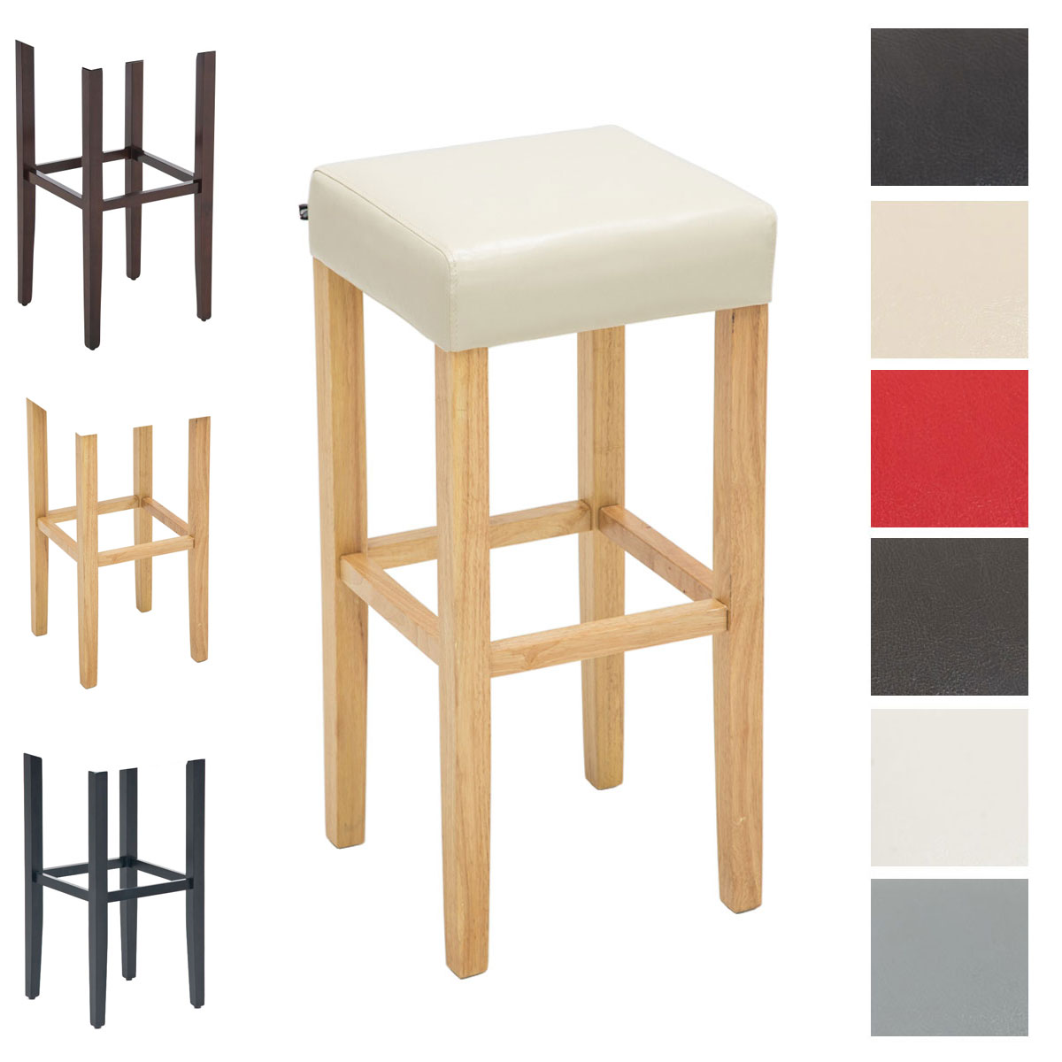 Tabouret bar JUDY chaise similicuir bois repose pied cuisine salle à manger neuf