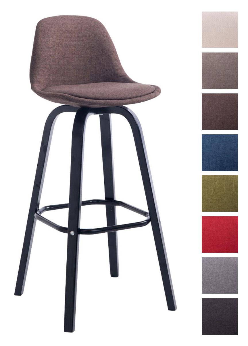Barhocker avika stoff schwarz holz barstuhl mit lehne for Barhocker designklassiker