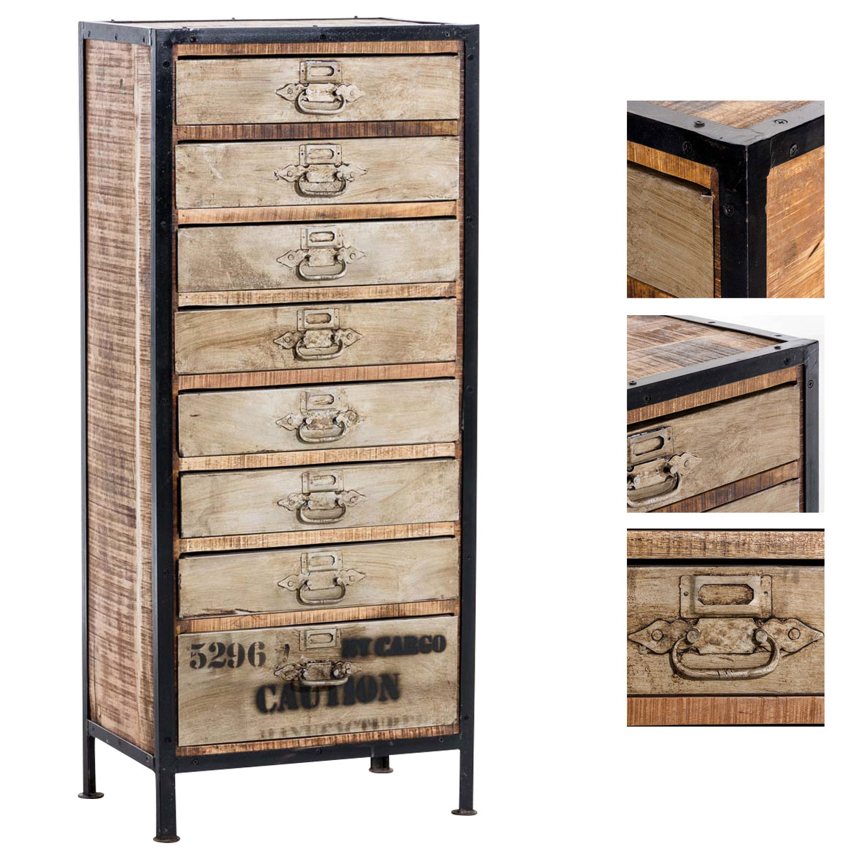 schrank bhakti kommode industrial design 8 schubladen holz. Black Bedroom Furniture Sets. Home Design Ideas