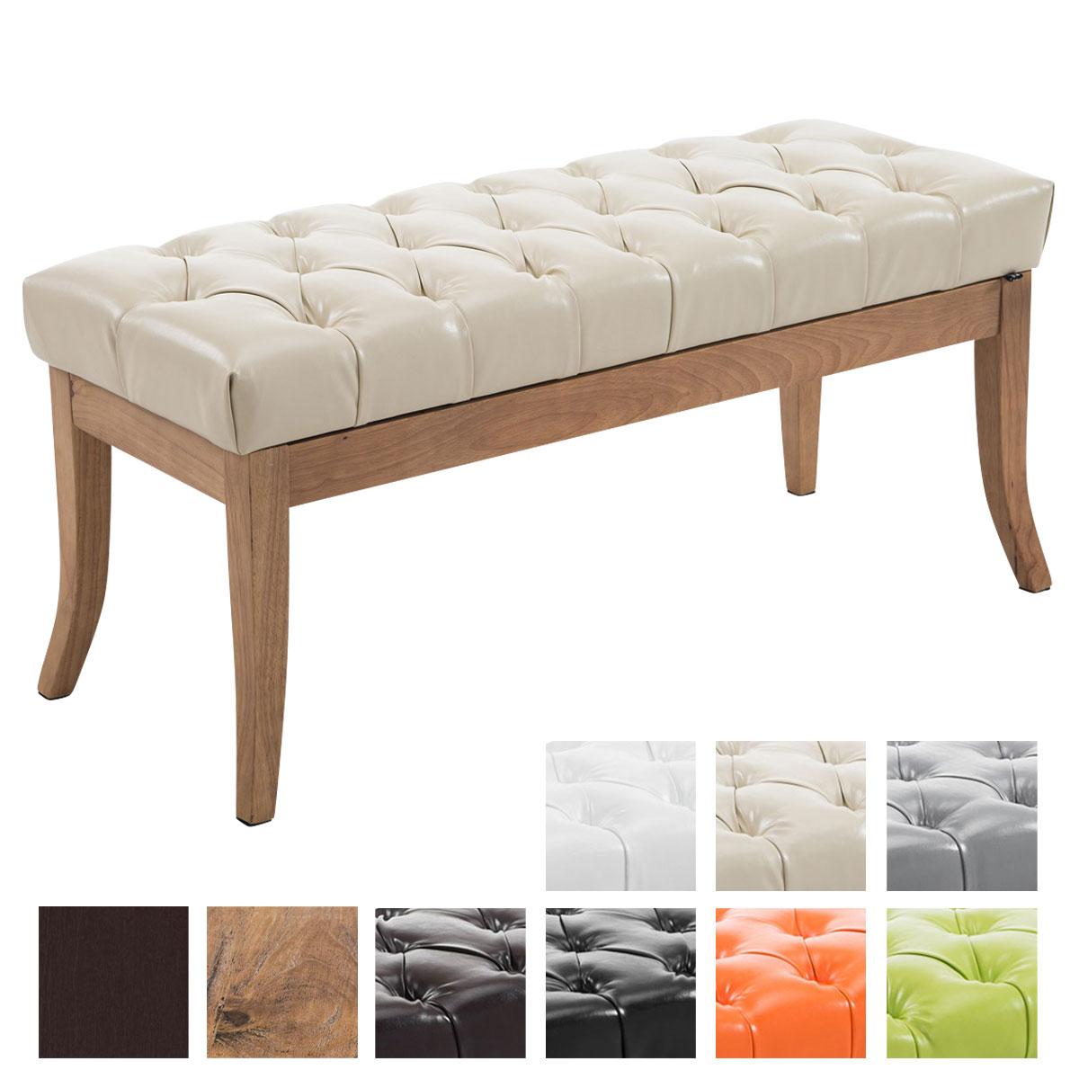 sitzbank ramses kunstleder antik hell polsterbank sitzhocker holzbeine wartebank ebay. Black Bedroom Furniture Sets. Home Design Ideas