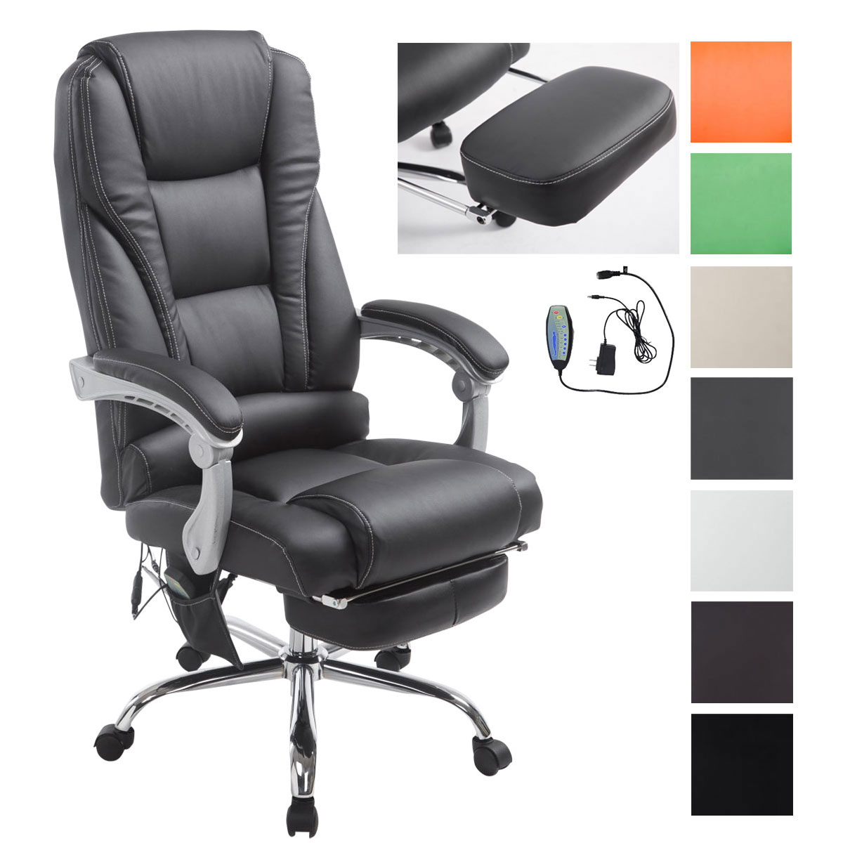 b rostuhl pacific mit massagefunktion chefsessel b rosessel fu st tze integriert ebay. Black Bedroom Furniture Sets. Home Design Ideas