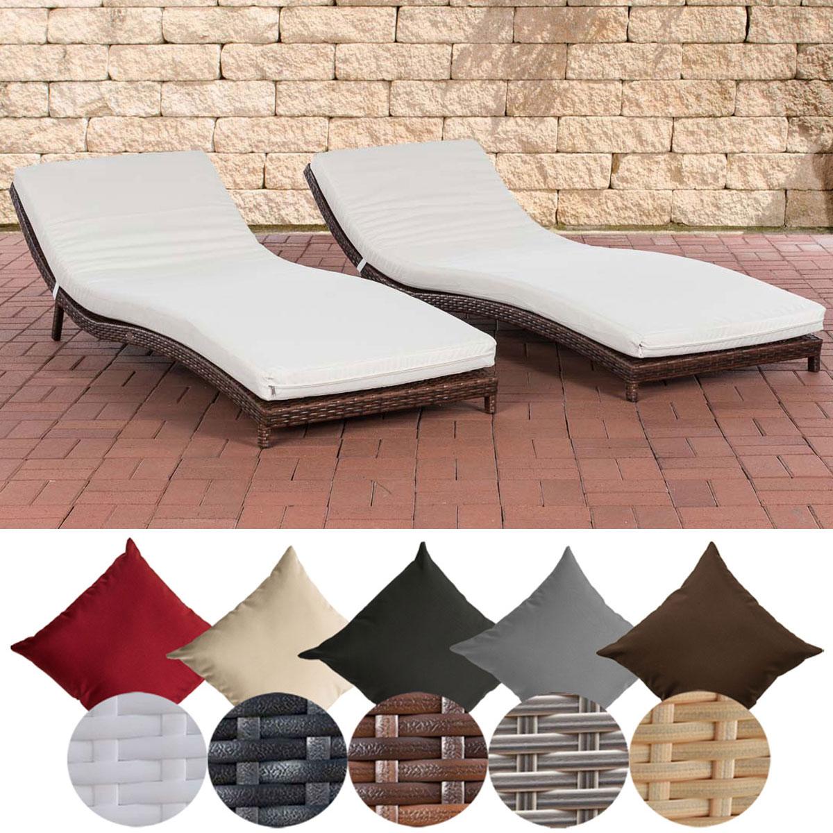 set sonnenliegen pesaro gartenliege mit auflage rattan liegestuhl alu gestell ebay. Black Bedroom Furniture Sets. Home Design Ideas