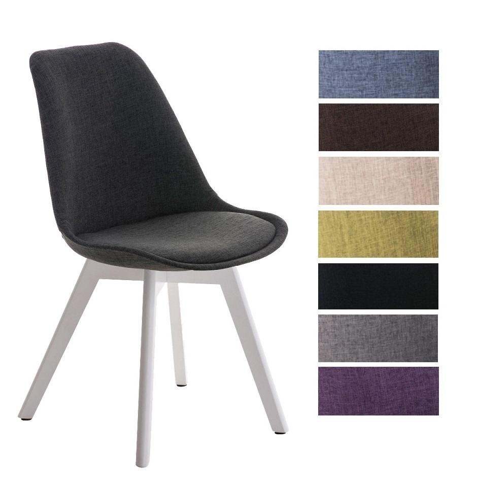 Détails sur Chaise visiteur BORNEO revêtement en tissu pieds en bois blanc  design scandinave